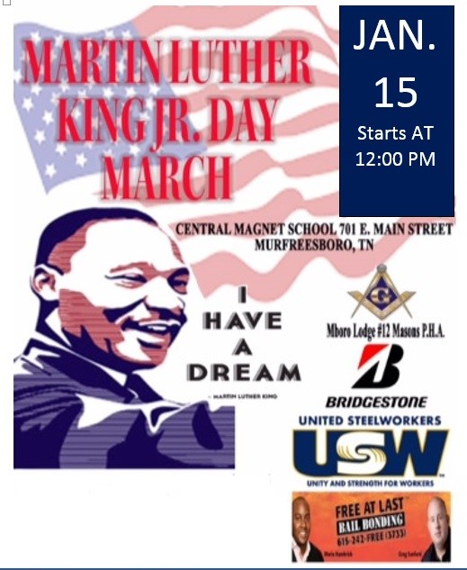 MLK March in Murfreesboro and City Offices to Close Jan. 15th