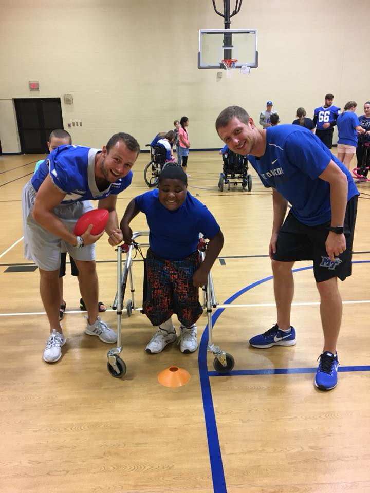 MTSU Football Hosted Clinic at Camp Ability of Special Kids