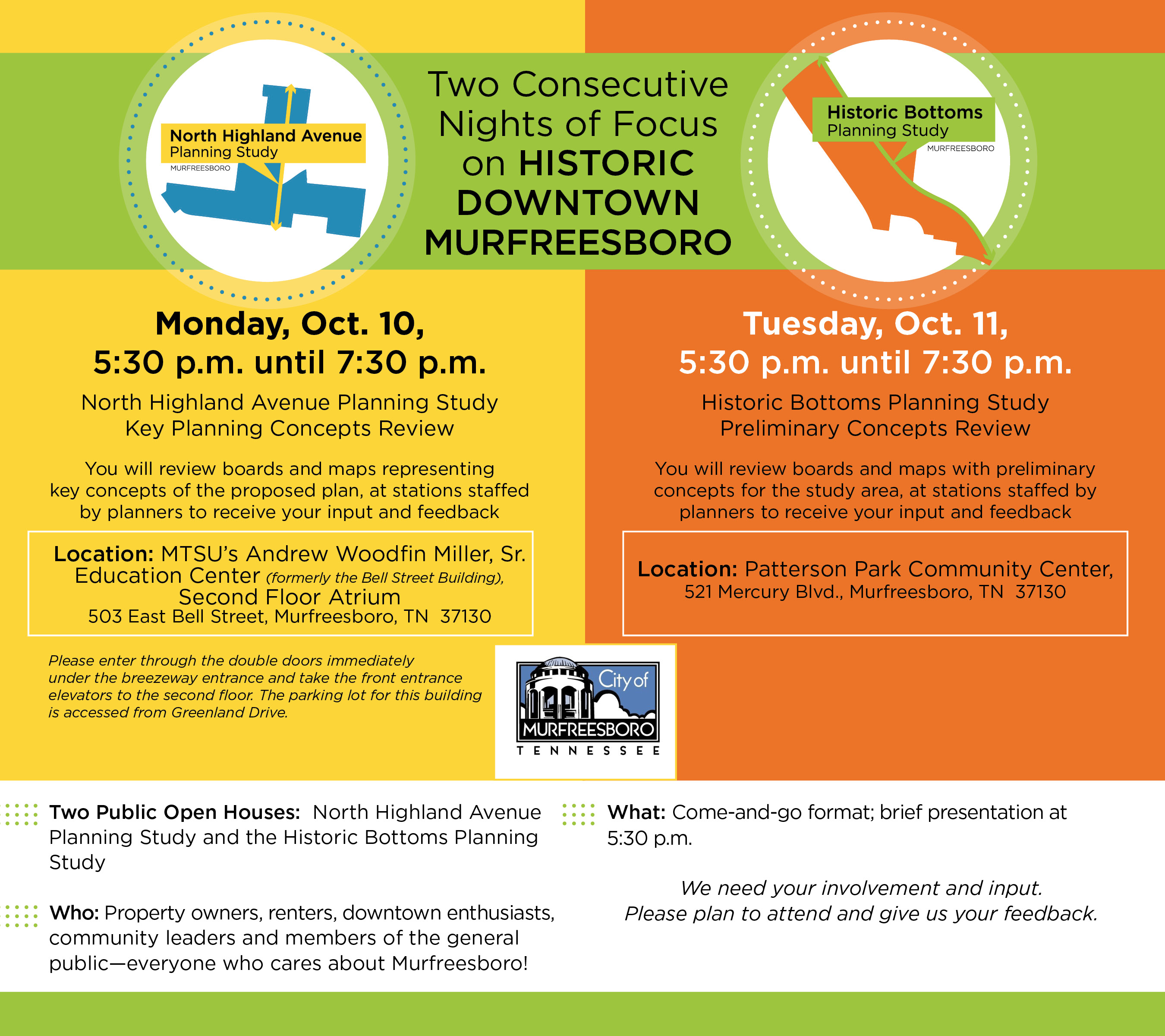 Two Consecutive Nights of Focus on Historic Downtown Murfreesboro Oct. 10-11