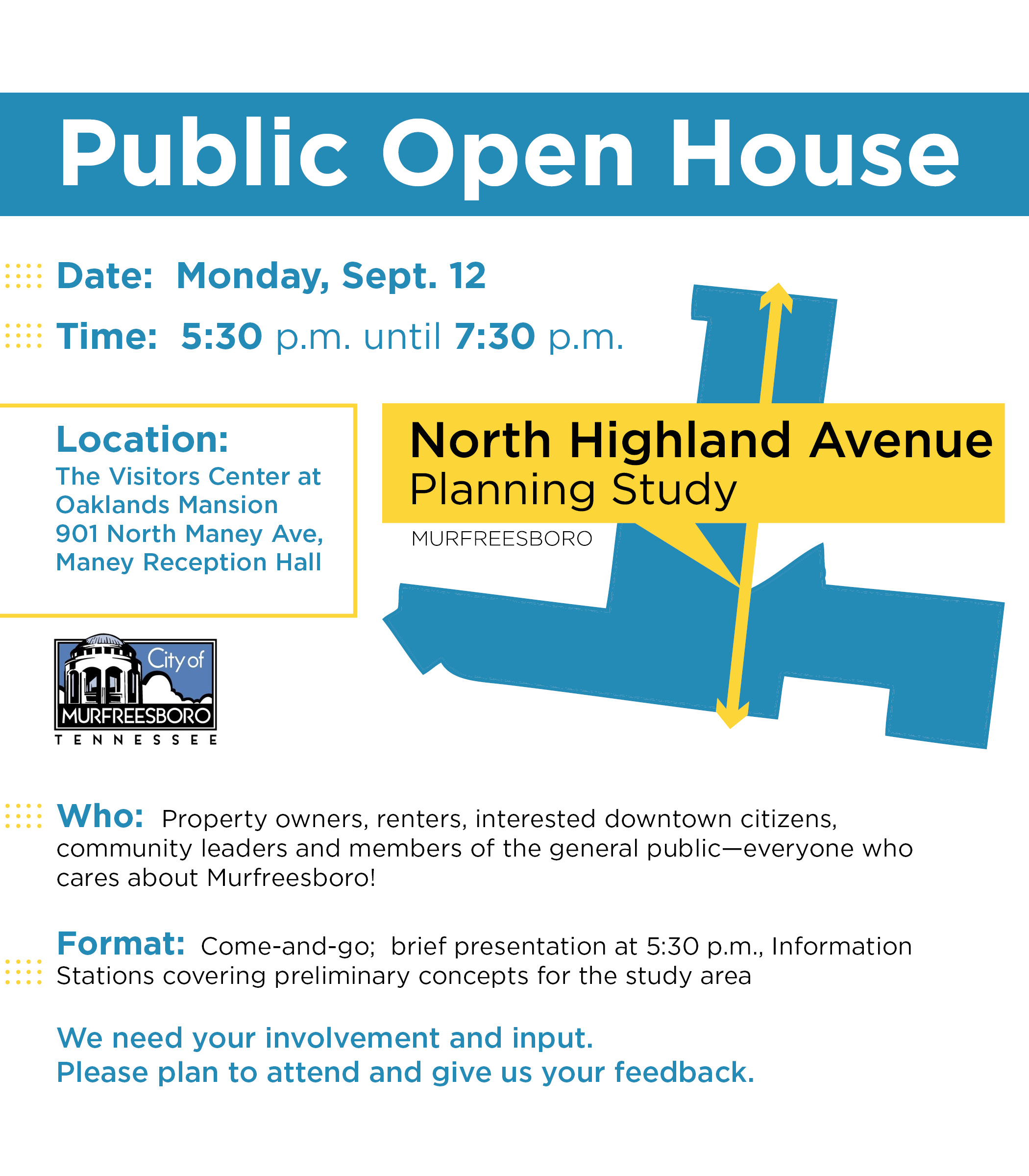 Public Invited to City's North Highland Avenue Planning Study Public Open House Sept. 12