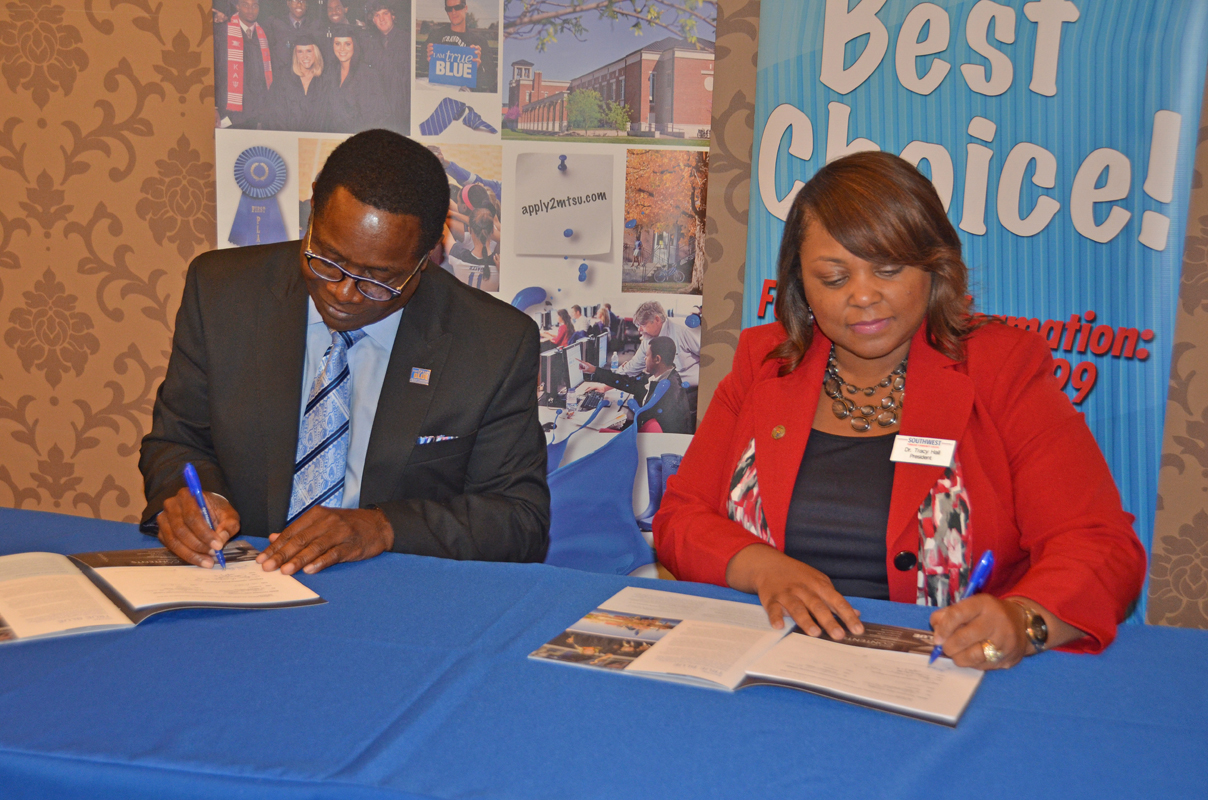 MTSU and Middle Tennessee State University and Southwest Tennessee Community College sign agreement