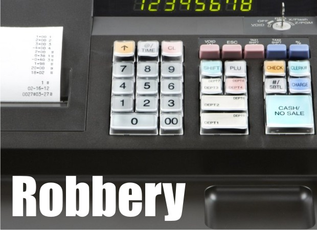 Store clerk fails to believe it is a real robbery, Robber grabs the register and runs