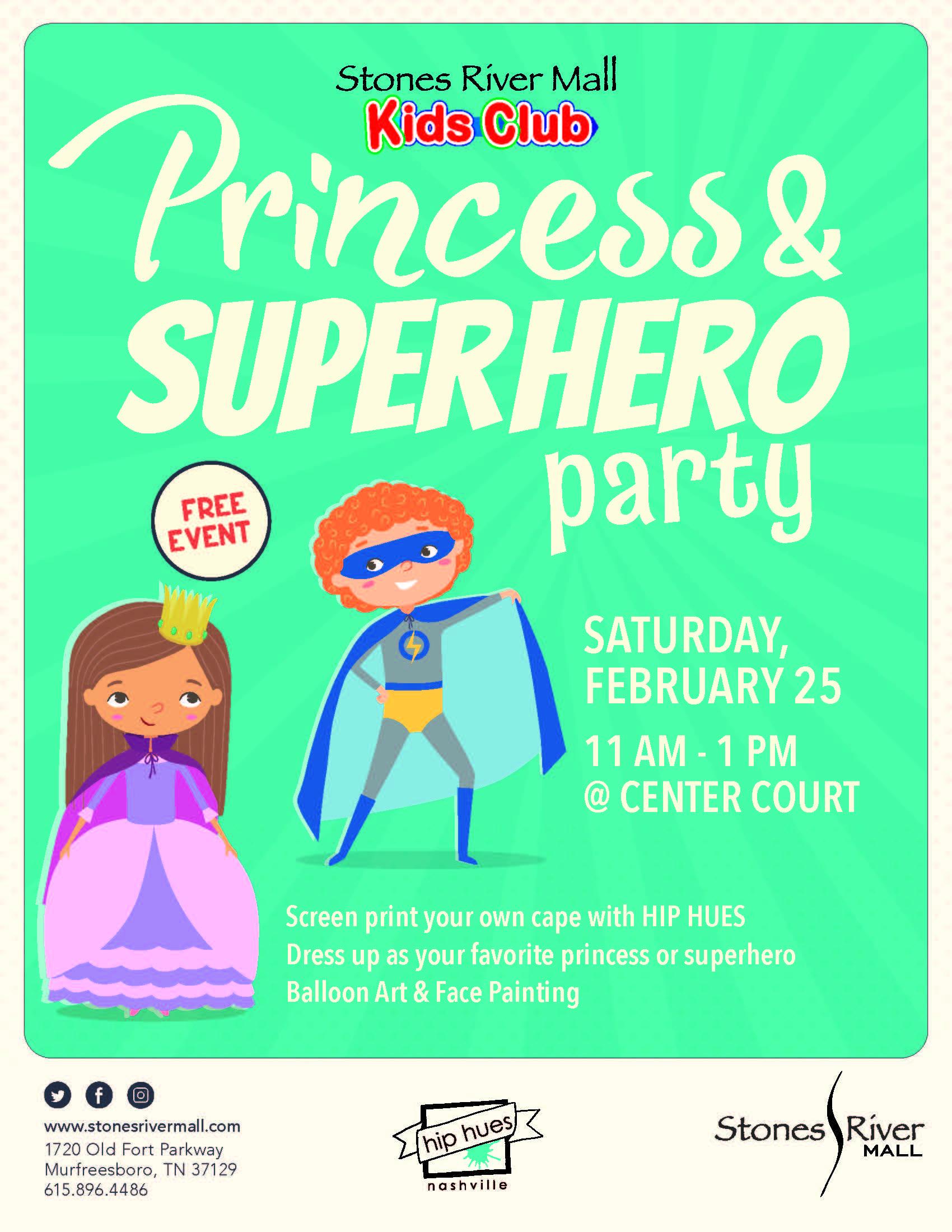 Stones River Mall presents Kids Club: Princess & Superhero Party on Feb. 25