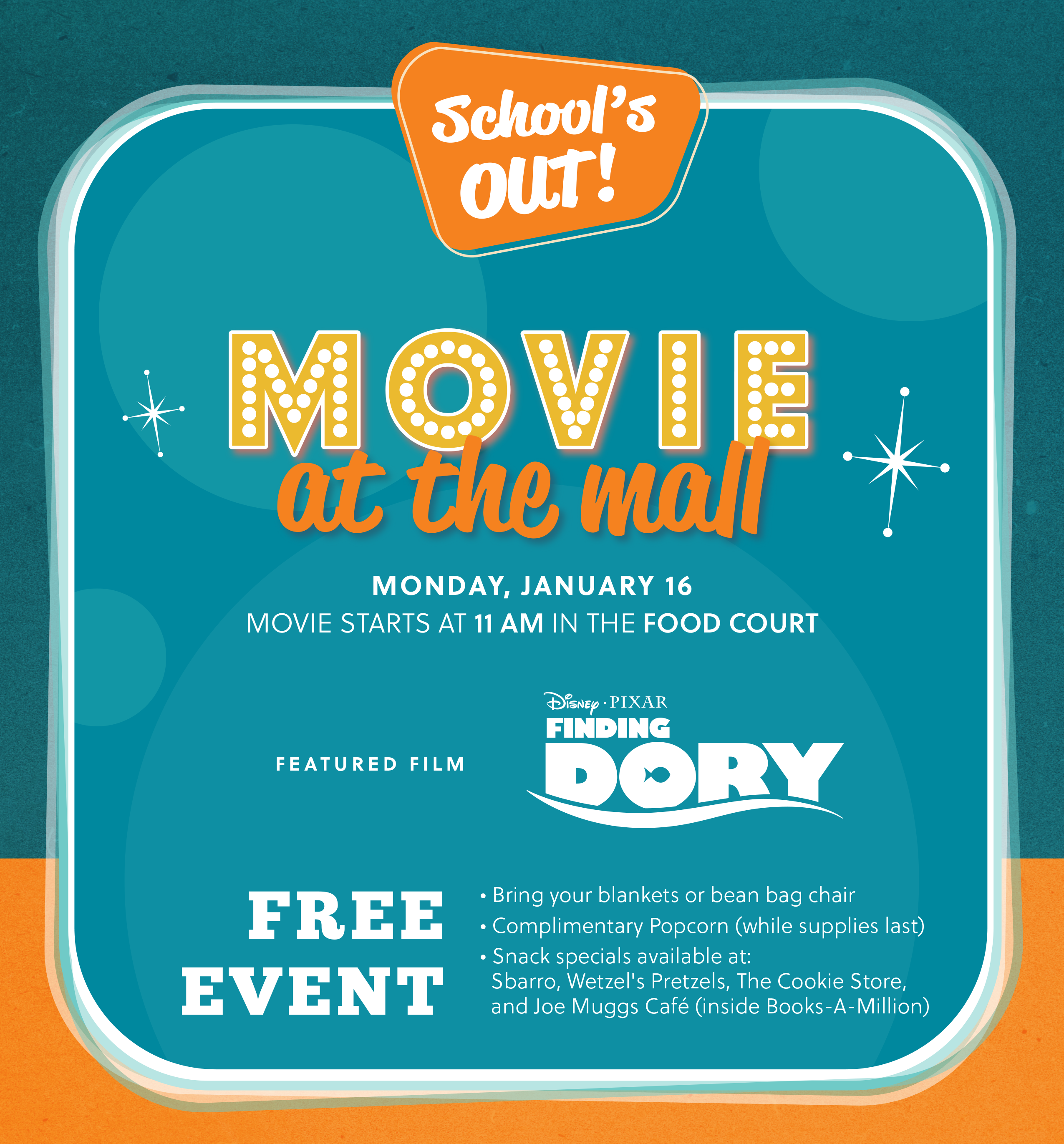 Stones River Mall introduces Movie at the Mall featuring 'Finding Dory' on January 16 (Martin Luther King, Jr. Day)