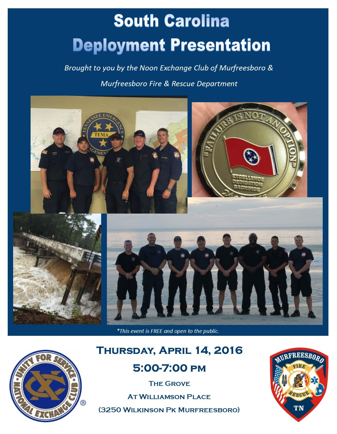 Murfreesboro Fire and Rescue Partners with Noon Exchange Club to Offer Free South Carolina Presentation to Public