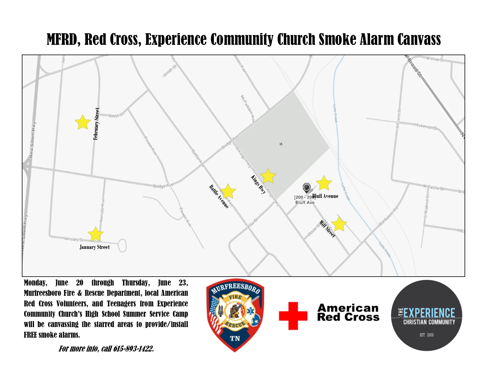Murfreesboro Fire, Red Cross, and Experience Community Partner for Smoke Alarm Canvass