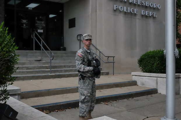 Local Citizens Aim to Stand Guard in front of the Murfreesboro Police Department