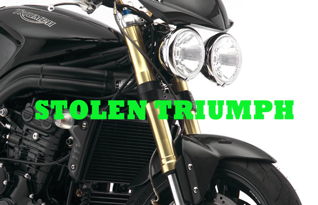 Triumph Speed Triple motorcycle stolen in South Church / Veterans Pkwy area