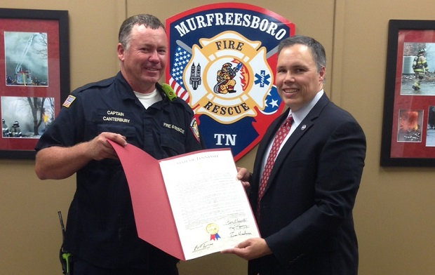 Capt. Robert Canterbury of the Murfreesboro Fire and Rescue Department Honored