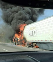 A Tractor Trailer Truck caught fire Thanksgiving Afternoon on I-24 in Rutherford County