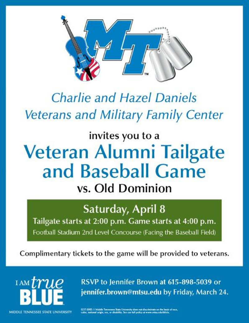 MTSU Daniels Center hosts veteran alumni tailgate, baseball game April 8