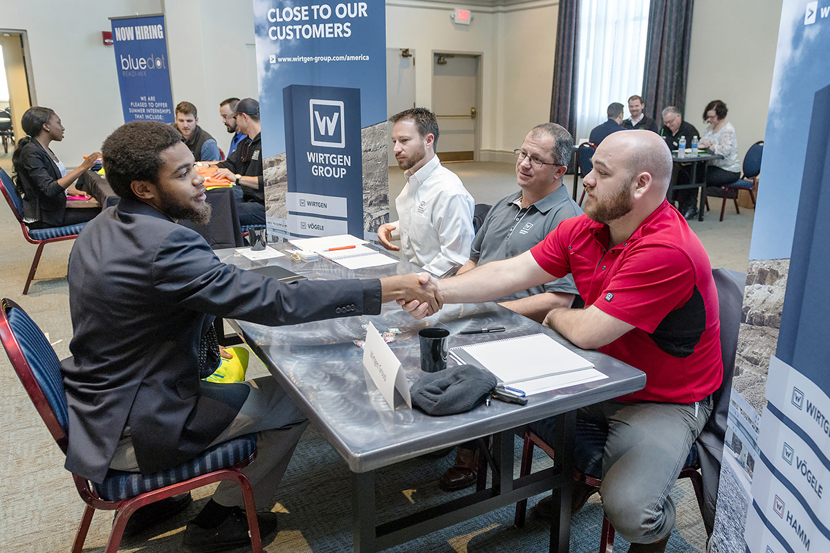 MTSU concrete, construction students seek internships through speed-interviewing process