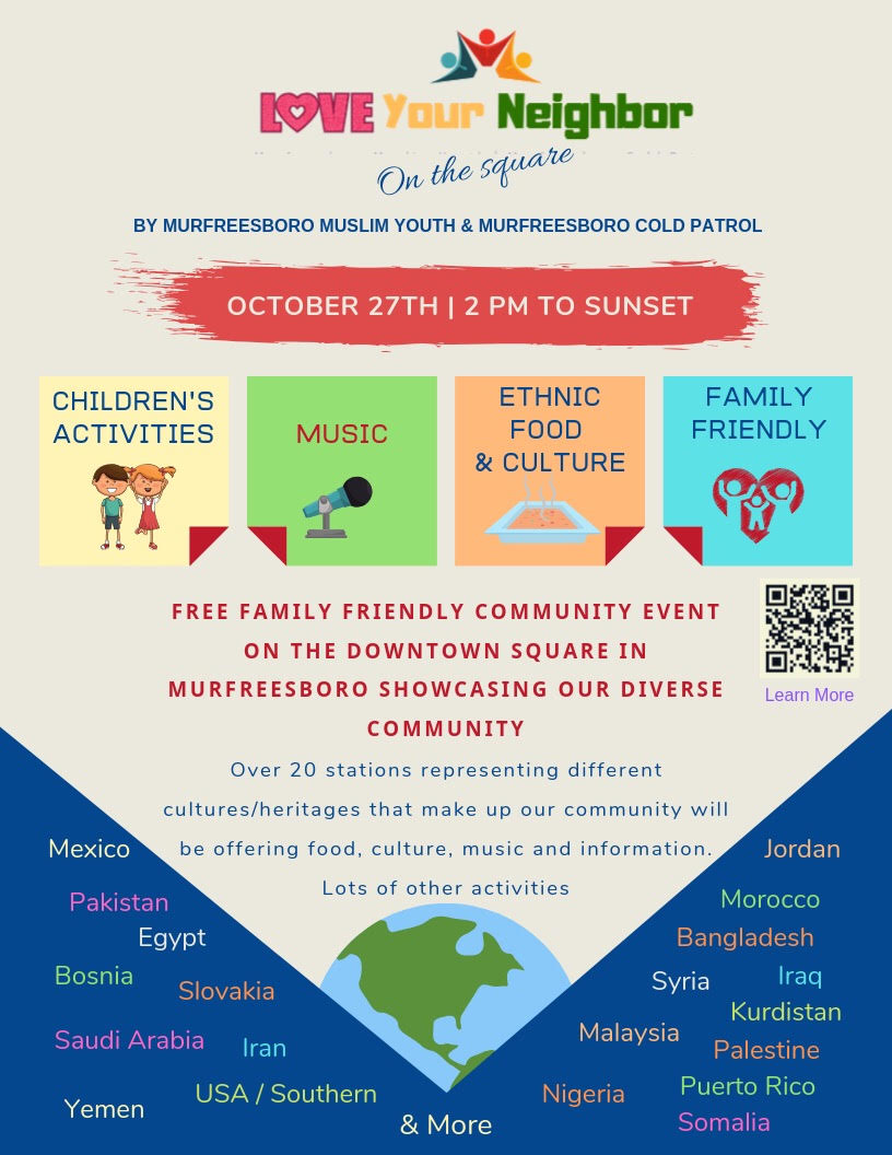 The free family-friendly event is sponsored by Murfreesboro Muslim Youth and Murfreesboro Cold Patrol.