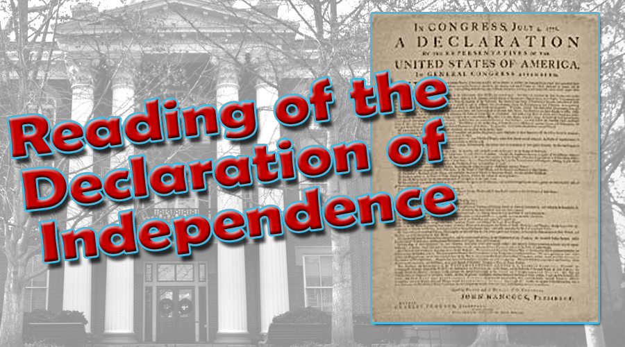 THURSDAY: Reading of the Declaration of Independence