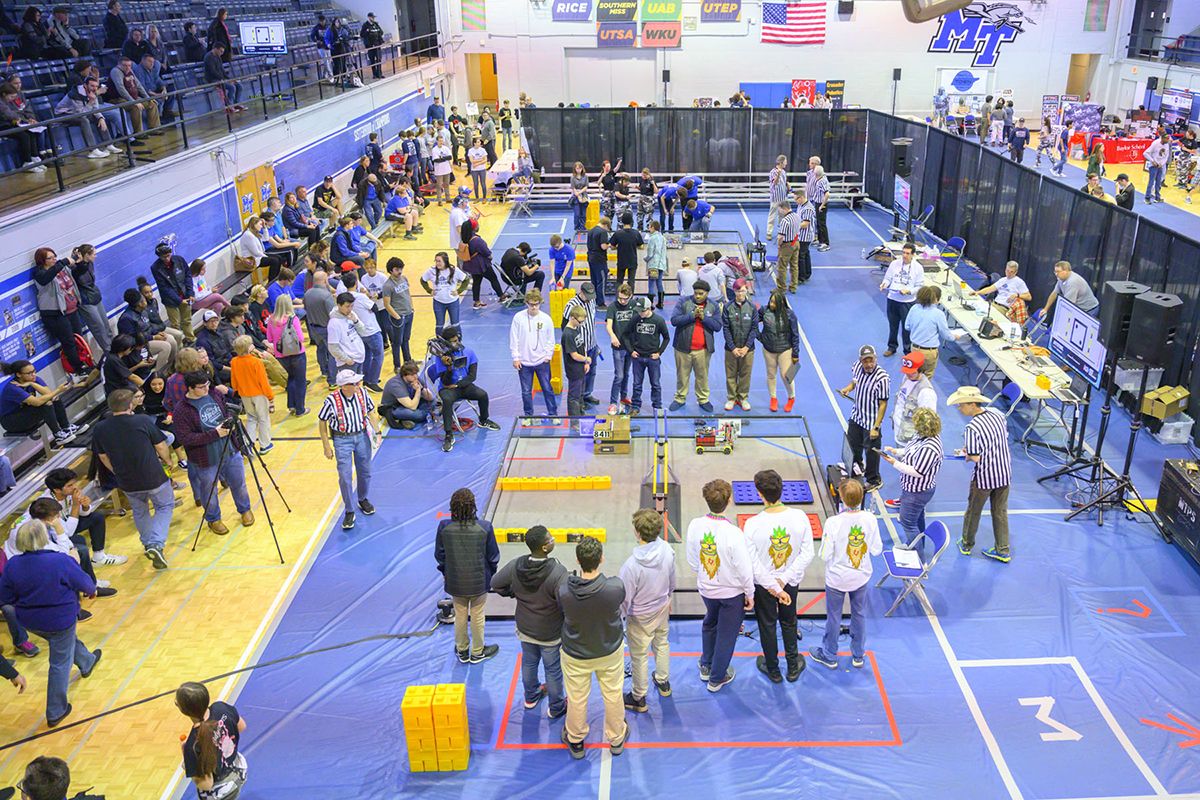 MTSU's Alumni Memorial Gym was a buzz of activity Saturday, Feb. 8, as high school and middle school students brought their creative A games to the second TNFIRST First Tech Challenge.