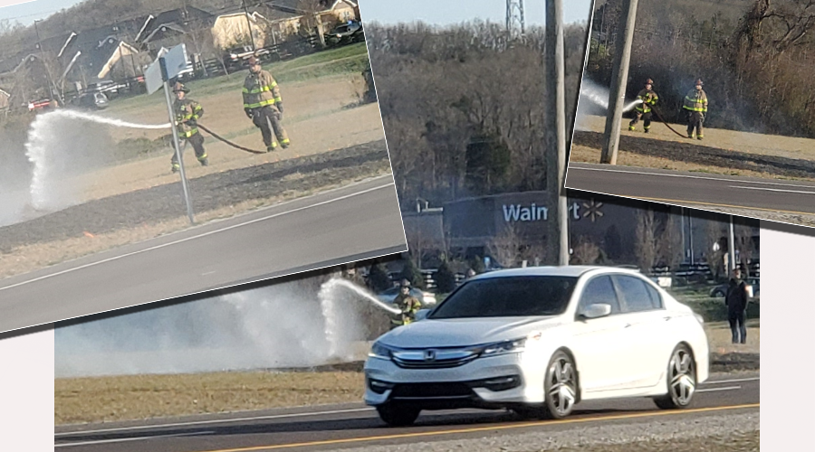A small grass fire was quickly doused this past Saturday. The blaze got the attention of passing motorist around 4:00 in the afternoon.