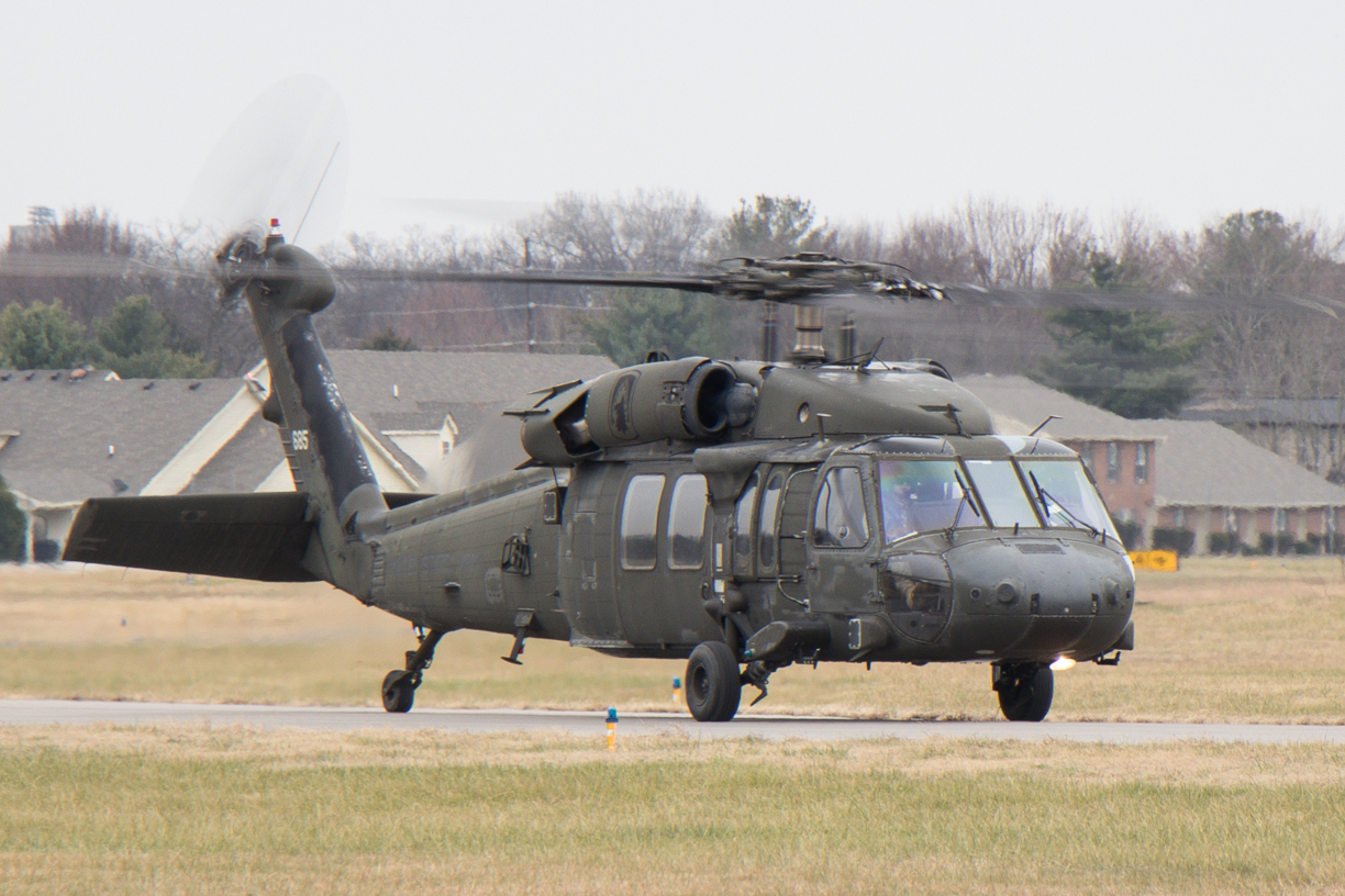 Military Black Hawk helicopter lands at Murfreesboro Airport