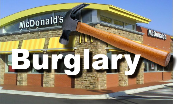 Burglar Enters the Drive Through Window of McDonald's and Tries to Open Store Safe