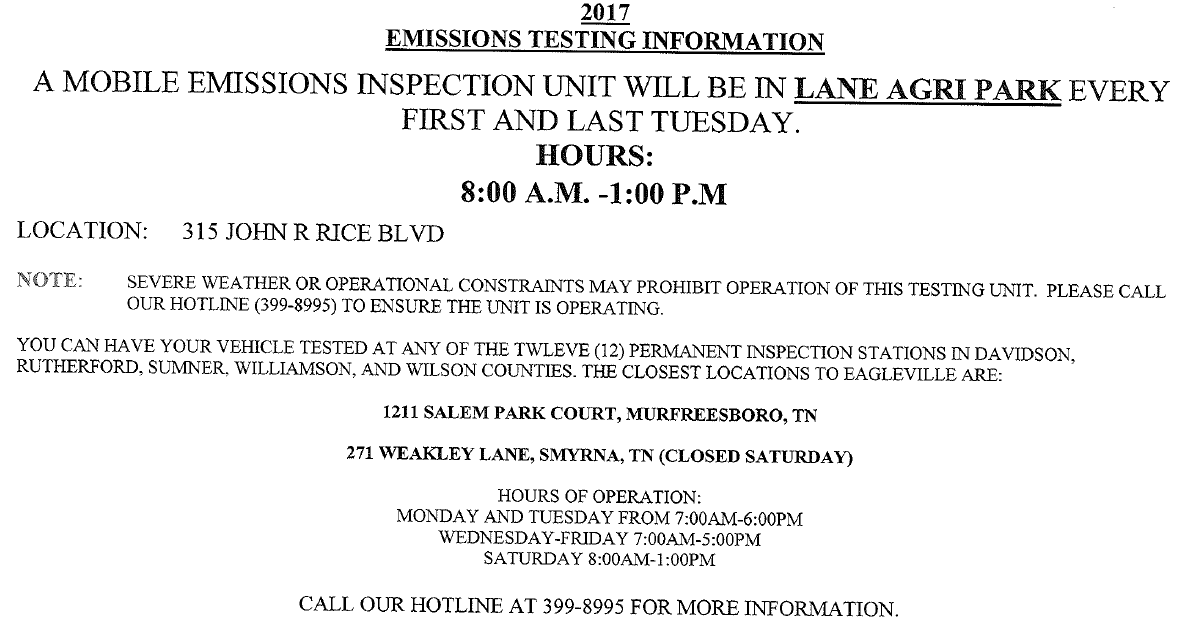 Additional Location For Your Car Emission Test Murfreesboro News And