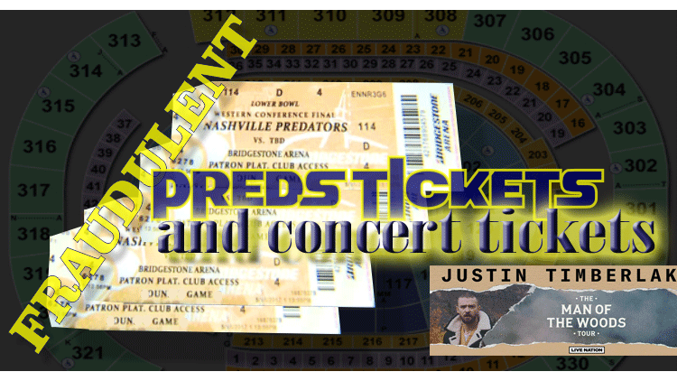 Fake Concert and Predators Tickets sold to Murfreesboro Man