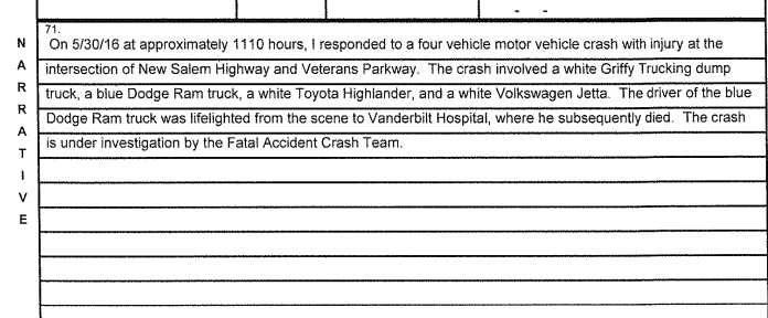 Fatal Memorial Day Accident on Highway 99 in Murfreesboro