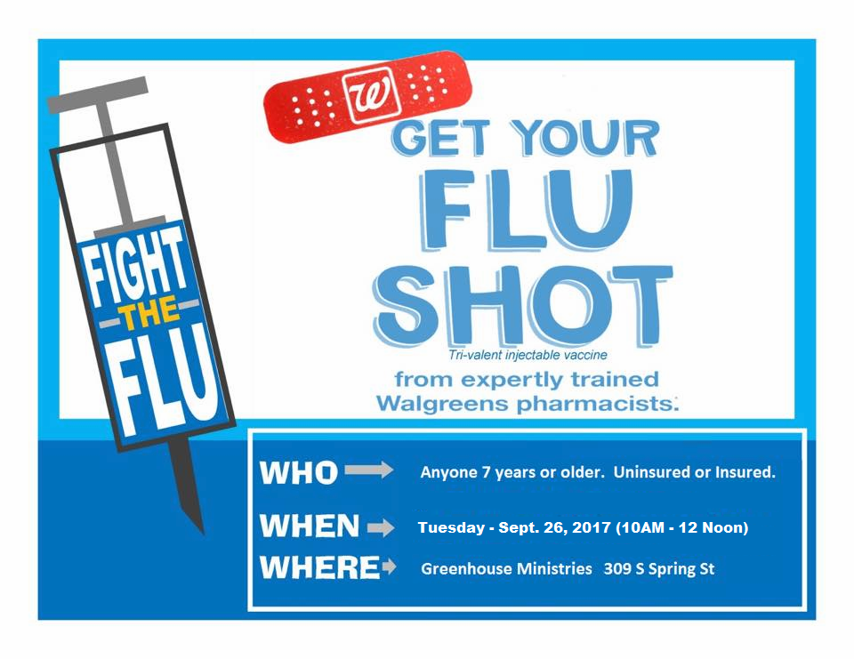 Free Flu Shots on Tuesday at Greenhouse Ministries (9/26/17)