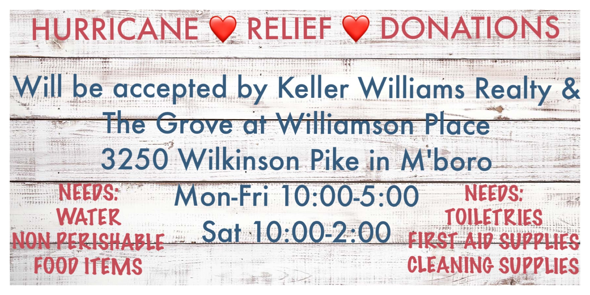Hurricane Relief Donations being collected in Murfreesboro