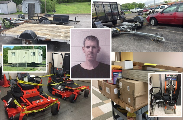 Suspect arrested for stealing lawnmowers, trailers and more