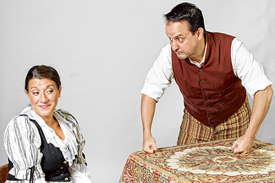 Libby Ricardo and Blake White rehearse a scene in LET's production of