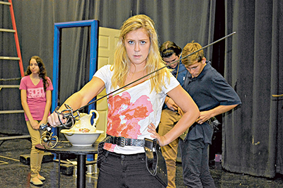 Viola, played by Celia Balfour, is ready for anything in the Seahawks Stage Company's production of