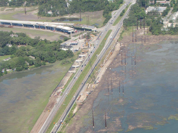 An aerial view of the flyover from the first week of May shows the divided roadway rising above the marsh on the eastbound side of Highway 278 near the bridges to Hilton Head Island. PHOTO BY COLIN KINTON.