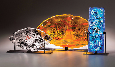 Glass art by Kathy Oda featured at Art League gallery