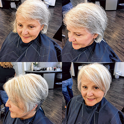 Best coloring and styling options for gray hair the bluffton sun gloria was given blended blonde highlights to brighten her hair then got a fresh new cut to go with pmusecretfo Images