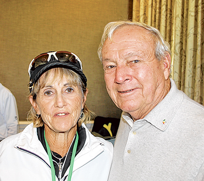 Dr. Jean Harris and Arnold Palmer at Wexford Golf Club in 2011.
