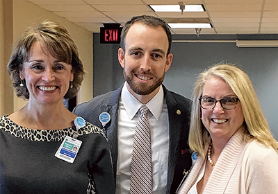Beaufort Memorial Vice President and Chief Nursing Officer Karen Carroll, President and CEO Russell Baxley and Associate Vice President Susie Roos at recent staff event celebrating the      hospital's redesignation as a Pathway to Excellence hospital.