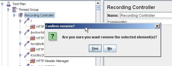 JMeter 2.6 Confirm/remove dialogue box