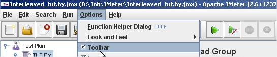 JMeter Toolbar Options