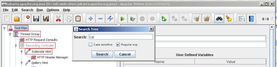 JMeter search button for JMeter 2.6 vs. JMeter 2.5