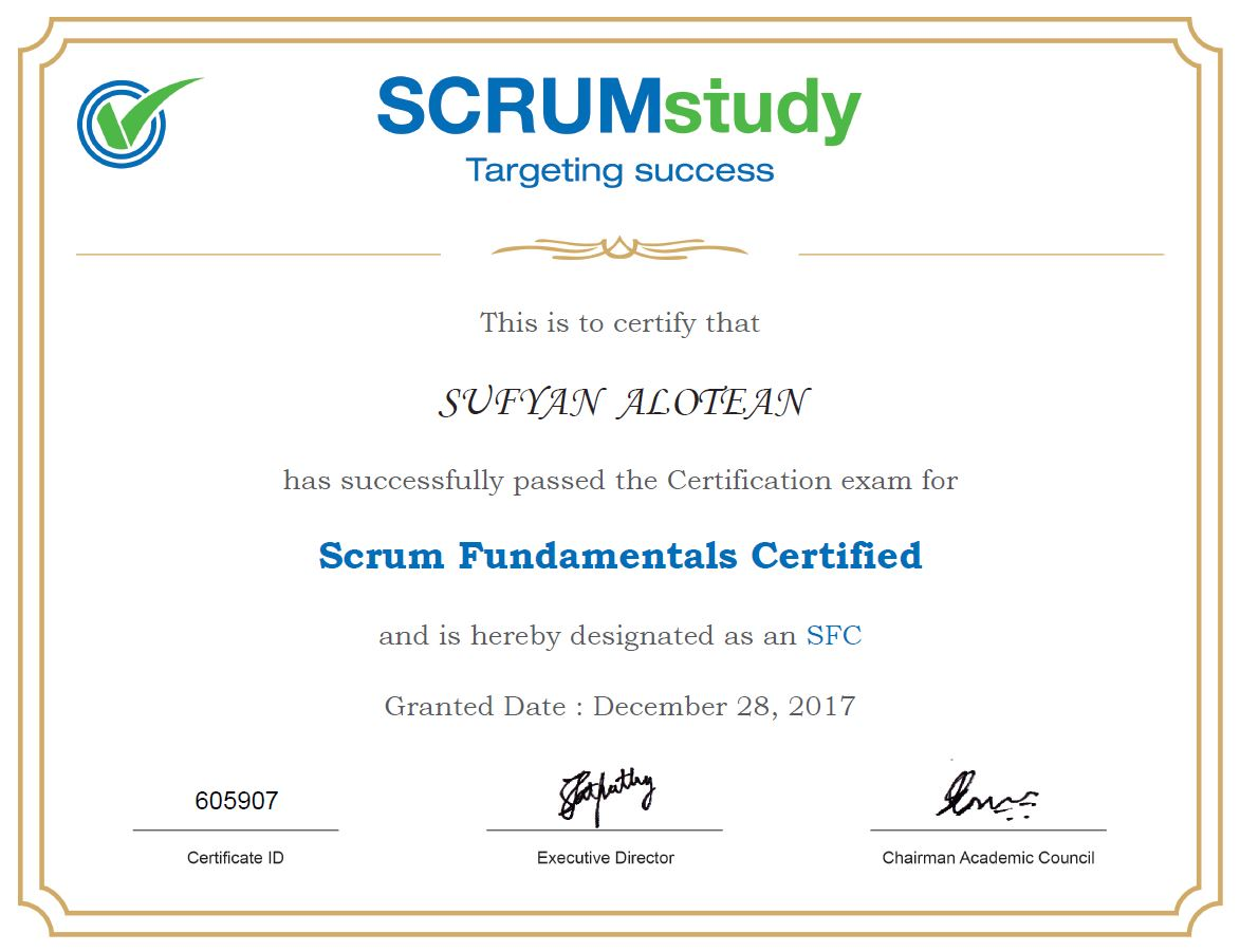 Scrum fundamentals certification   sufyan alotean