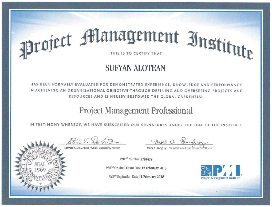 Pmp certificate   sufyan alotean