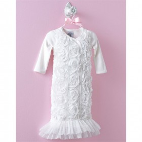 Mud Pie Ivory Rosette Sleep Gown