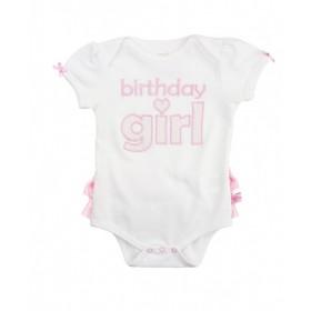 Ruffle Butts Pink Seersucker Birthday Girl Bodysuit