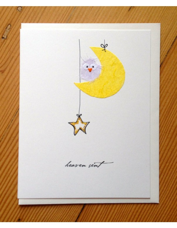 "Flaunt Cards ""Heaven Sent"" Little Owl On Crescent Moon"