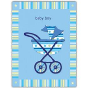 Little Seashell Greeting Card - Blue Stroller