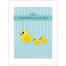 Little Seashell Greeting Card - Congratulations Twins Ducks