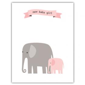 Little Seashell Greeting Card - Congratulations Elephant Girl