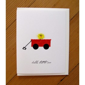 "Flaunt Cards ""Hello Little One"" Chick In Red Wagon"
