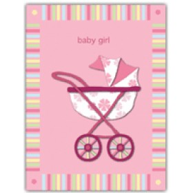 Little Seashell Greeting Card - Pink Stroller