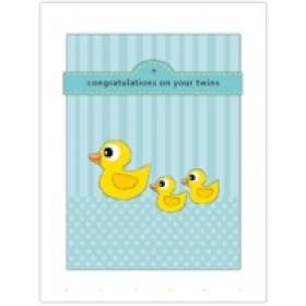 Little Seashell Greeting Card - Congratulations Twins Ducks
