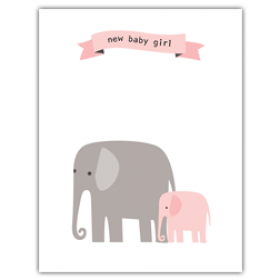 Little Seashell Greeting Card - Congratulations Elephant Girl